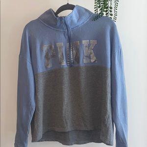 Blue & grey VS PINK half zip sweater